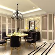 欧式风格餐厅原木餐桌装饰