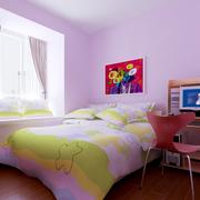 浅紫色简约风格儿童房背景墙装饰