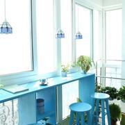 清新风格浅蓝色吧台装饰