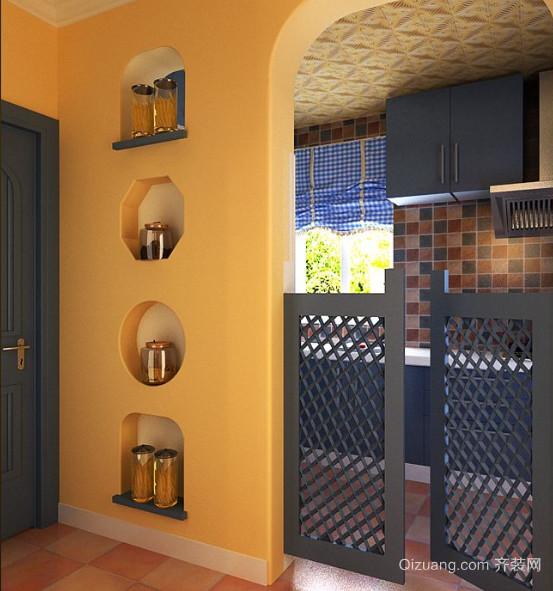 三室一厅地中海风格玄关设计装修效果图