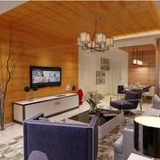 100平米房屋简约客厅原木吊顶装饰