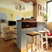 美式混搭风格小型客厅吧台装饰