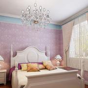 卧室浅紫色简约墙纸装饰