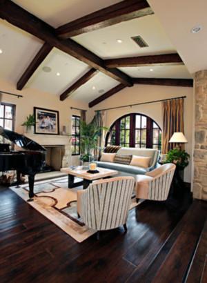 美式简约风格阁楼客厅吊顶装饰
