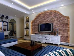 90平米地中海客厅电视墙装修效果图