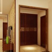东南亚风格深色系原木玄关装饰