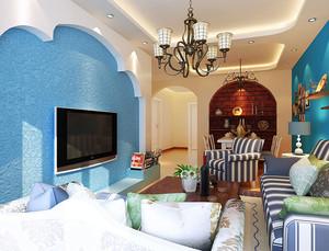 2015大户型地中海风格客厅电视背景墙装修效果图