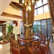 中式别墅原木酒柜装饰