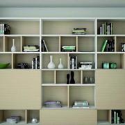 日式清新风格整体书柜装饰