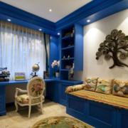 地中海风格书房蓝色系书柜装饰