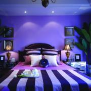 蓝紫色梦幻色彩卧室效果图