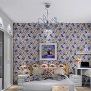 现代简约风格卧室印花墙纸装饰