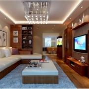 100平米简约风格中式沙发背景墙装饰