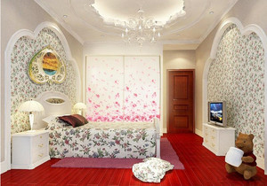 韩式印花卧室壁纸装饰