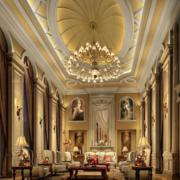 欧式别墅深色系客厅奢华吊顶装饰