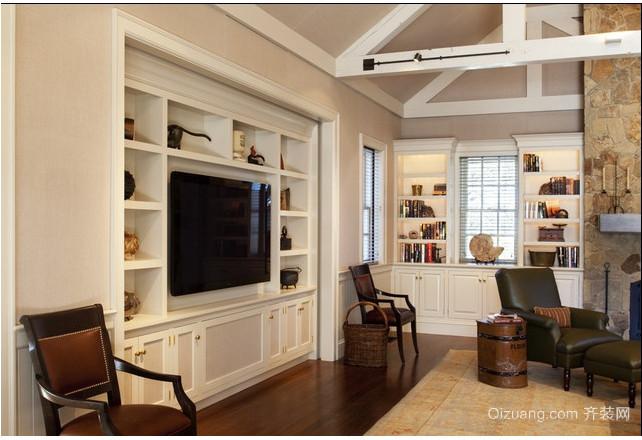 120平米中式乡村客厅电视背景墙效果图