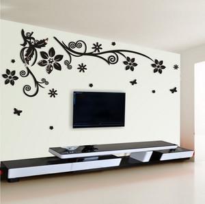 90平米现代时尚客厅水晶立体墙贴装修效果图