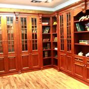 美式简约风格原木系整体书柜装饰