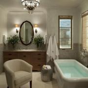 美式简约风格家庭卫生间浴缸装饰