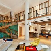 公寓复式楼简约风格旋转楼梯装饰