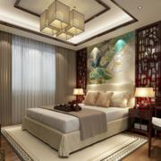 中式风格卧室床头背景墙装饰