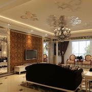 欧式深色系客厅罗马柱装饰