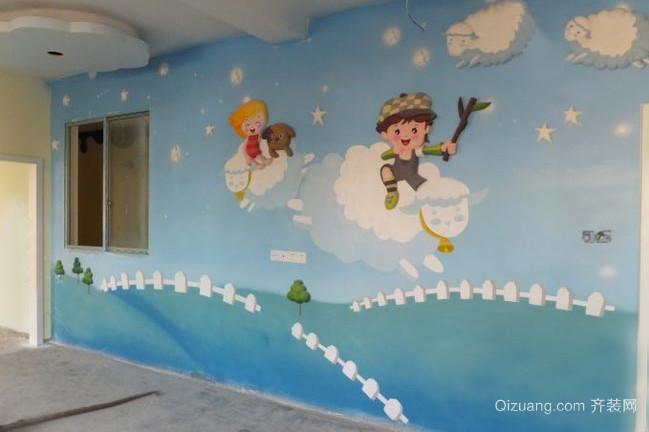 卡通清新幼儿园教室墙面彩绘装修