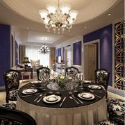 欧式奢华餐厅圆形石膏板吊顶