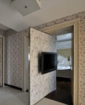 现代神秘隐形门电视背景墙装修效果图