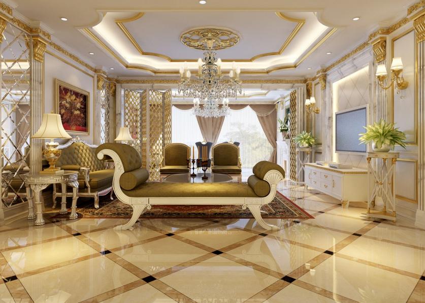 5别墅型豪华 客厅欧式罗马柱背景墙 装修效高清图片