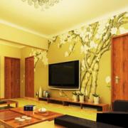 日式简约印花电视背景墙装饰