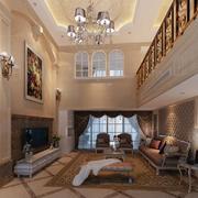 欧式复式楼客厅背景墙装饰