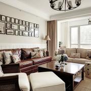 美式简约浅色客厅沙发背景墙装饰