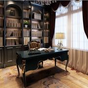 美式风格深色系书柜效果图