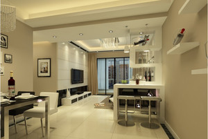 90平米现代北欧风格客厅吧台装修效果图