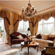 精致美式别墅窗帘设计