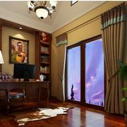 美式别墅书房窗帘设计
