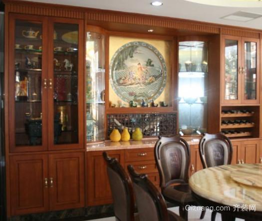 新中式古典餐厅酒柜装修效果图