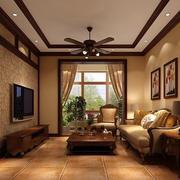 时尚美式乡村别墅客厅吊顶设计