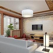素雅中式别墅客厅电视背景墙