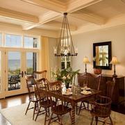 精装美式乡村别墅客厅吊顶设计
