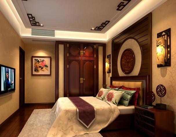 新中式风格家庭卧室装修设计效果图