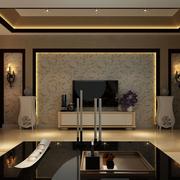 时尚东南亚别墅客厅背景墙设计