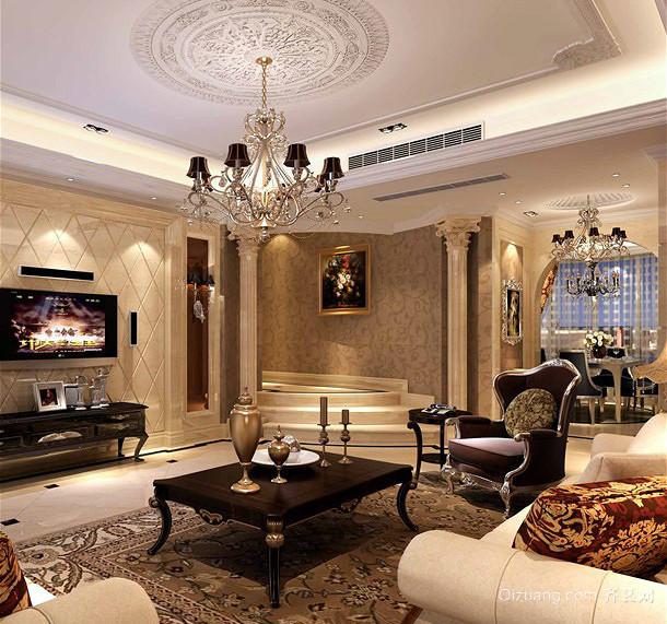 2015别出心裁的大户型古典型错层客厅装修效果图