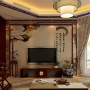 古典中式别墅客厅电视背景墙