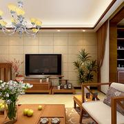 时尚中式客厅吊顶电视背景墙
