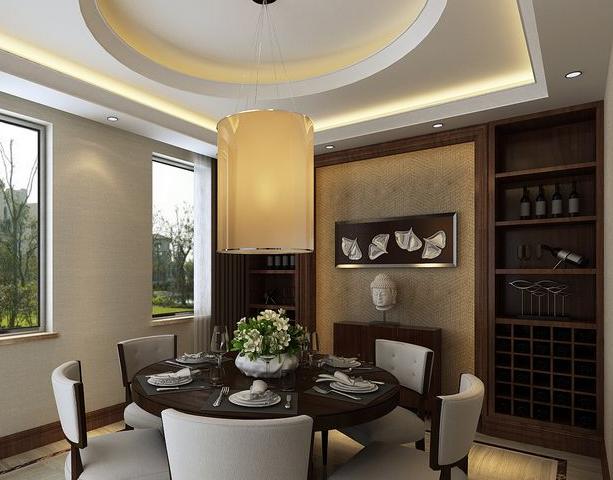 新中式 古典餐厅 酒柜 装修效果图 齐装网装修效