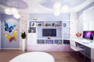 梦幻儿童房整体书柜装修效果图