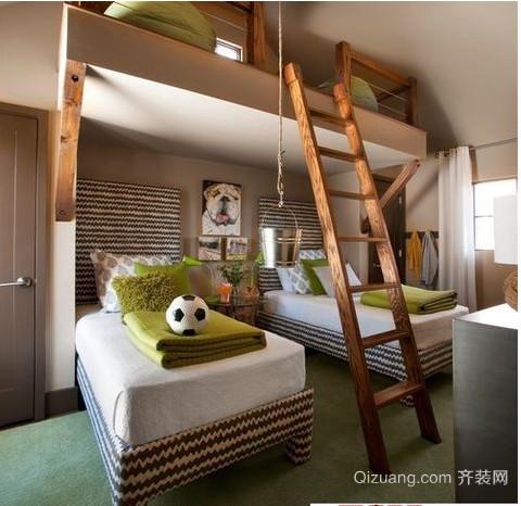 美式乡村别墅卧室装修效果图