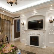 素雅美式别墅电视背景墙设计